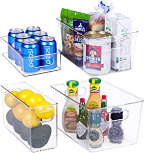 FOOYOO Plastic Refrigerator Organizer Bins - 4 Piece Clear Freezer Organizer Bins with Handle for Kitchen Pantry, Premium BPA-Free Storage Bins (4 Piece)