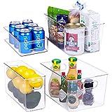 Plastic Refrigerator Organizer Bins - 4 Piece Fridge Organizers and Storage Clear Bin with Handle for Kitchen Pantry…