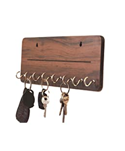 Metvan OneLine Wooden Key Holder(25 cm x 11 cm x 0.4 cm, Brown)