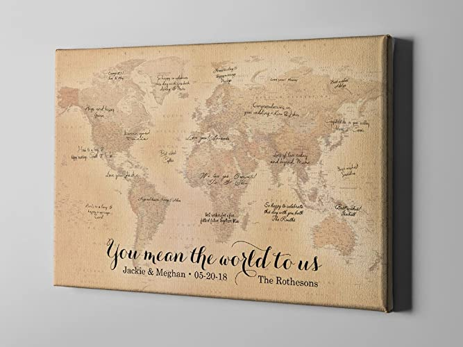 Amazon sale 50 off canvas guest book rustic world map guest sale 50 off canvas guest book rustic world map guest book travel themed gumiabroncs Image collections