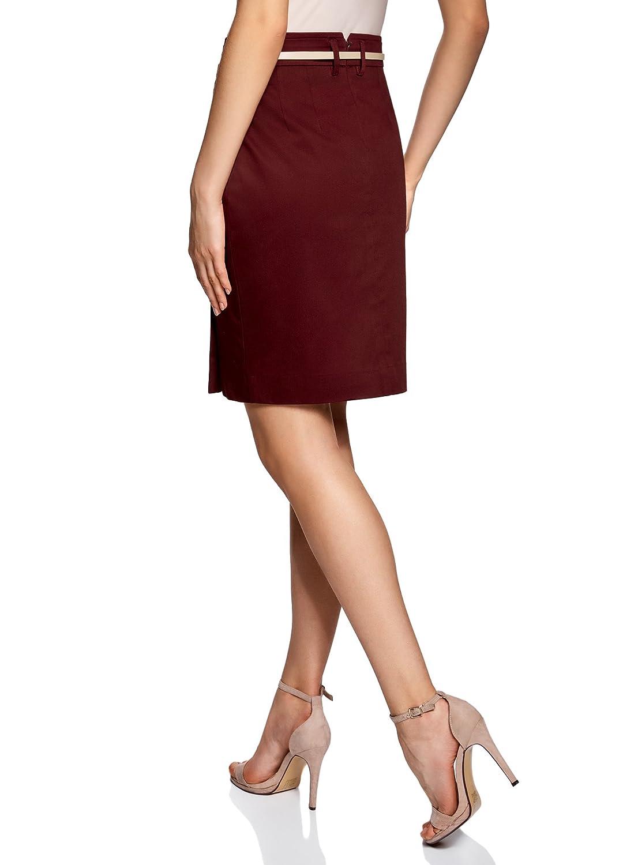 oodji Collection Mujer Falda Recta con Cinturón, Rojo, ES 38 / S ...