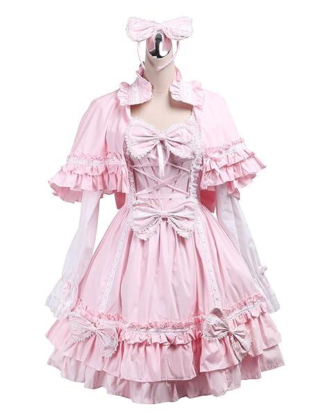 Antaina Vestido de Lolita Victoriana con Volantes de algodón Rosa con Chal y Sombreros,XS