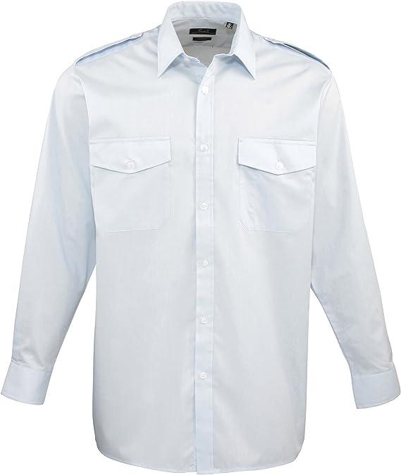 Premier - Camisa Lisa de Manga Larga de Caballero/Hombre Diseño piloto - Trabajo/Fiesta/Restaurante: Amazon.es: Ropa y accesorios