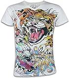 Ako Roshi Camiseta Hombre Tigre y Demonio Talla M L XL Japón Artes Marciales Tatuaje Irezumi Hannya Buda