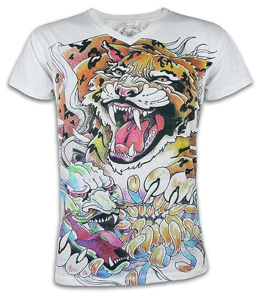 2e616274973ef Ako Roshi Camiseta Hombre Tigre y Demonio Talla M L XL Japón Artes  Marciales Tatuaje Irezumi Hannya