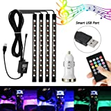 Amazon Price History for:AMBOTHER 4Pcs Car LED Interior Light Neon Floor Atmosphere Decorative Underdash Strip Lights Kit, 48-LEDs Multi Color with Sound Active and IR Wireless Remote Control, Dual Smart USB Ports Car Charger