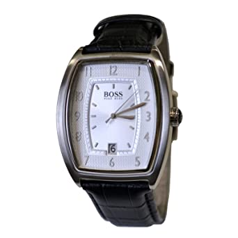 Men s Hugo Boss Watch Black Leather Band White face 1512217  Amazon ... e949989bb747