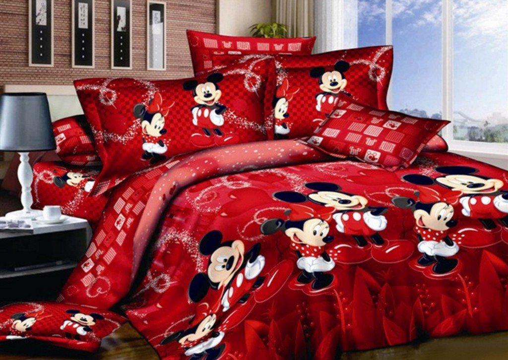Haru Homie 100% Cotton Kids Reversible Printing Mickey Mouse Couples Duvet Cover 3PCS Bedding Set with Zipper Closure - Ultra Soft, Hypoallergenic and Wrinkle&Fade Resistant, Queen by Haru Homie