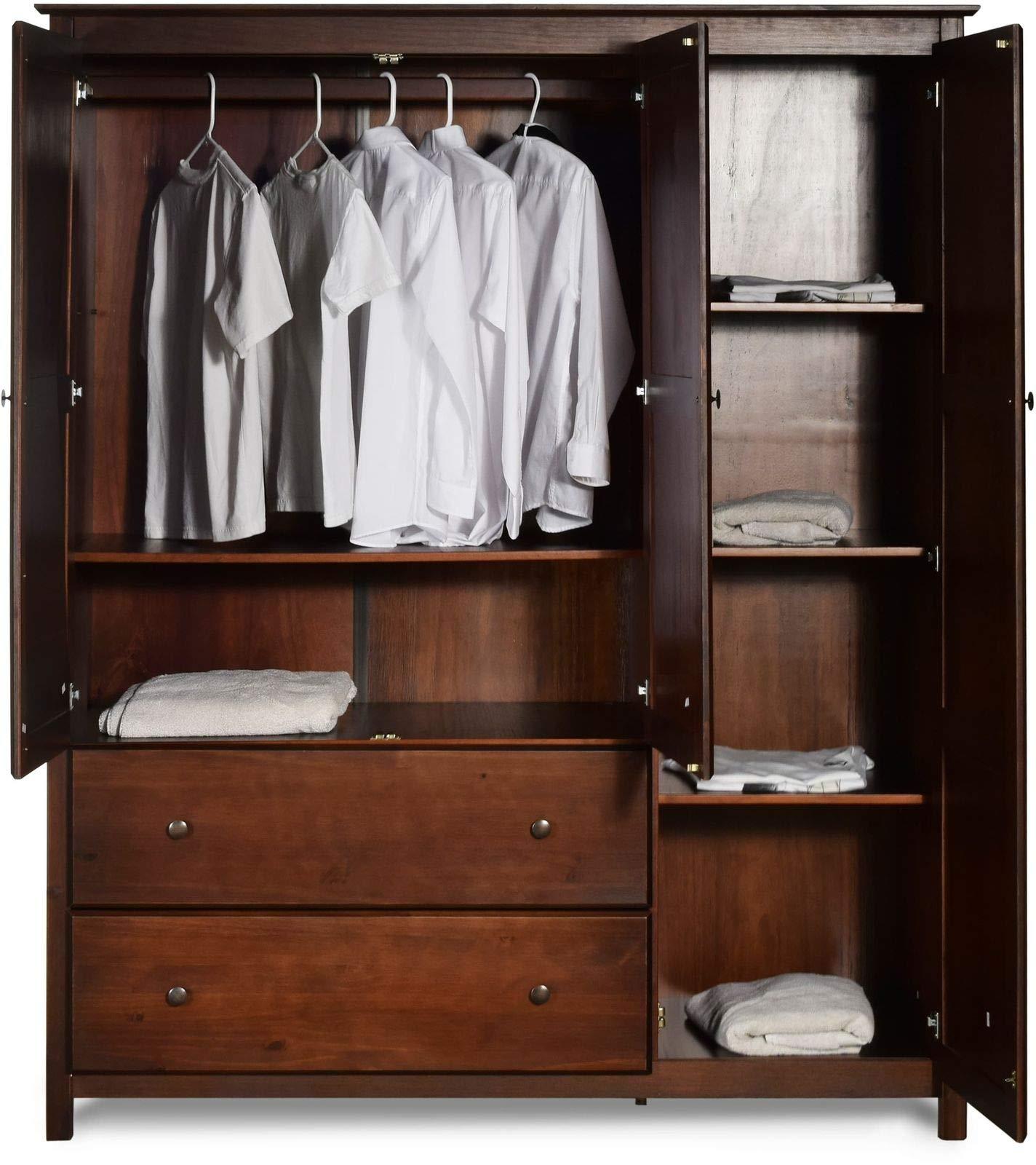 LA&PH 3 Door Armoire Closet Mid-Century Modern Grain Wood Furniture Shaker Cherry Solid Wood by LA&PH