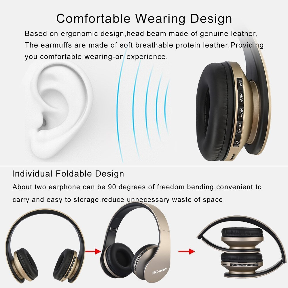 Ecandy Bluetooth Headphones Over-ear Stereo Wireless + Wired Headsets with Microphone for Music Streaming,Hands-free Calling For iPhone,Nokia,HTC,Samsung,LG,Moto,iPad,PSP and enabled Bluetooth-Gold