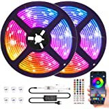 Bluetooth LED Strip Lights 32.8ft with App Control, Music Sync LED Light Strips Waterproof, Flexible Color Changing RGB…