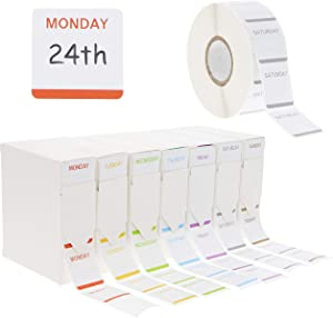 Juvale Day of The Week Food Rotation Labels with Dispensers, 1000 Stickers Each Roll (7000 Total), 1 x 1 Inches