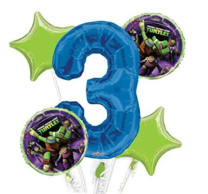 Ninja Turtles Balloon Bouquet 3rd Birthday 5 pcs - Party Supplies