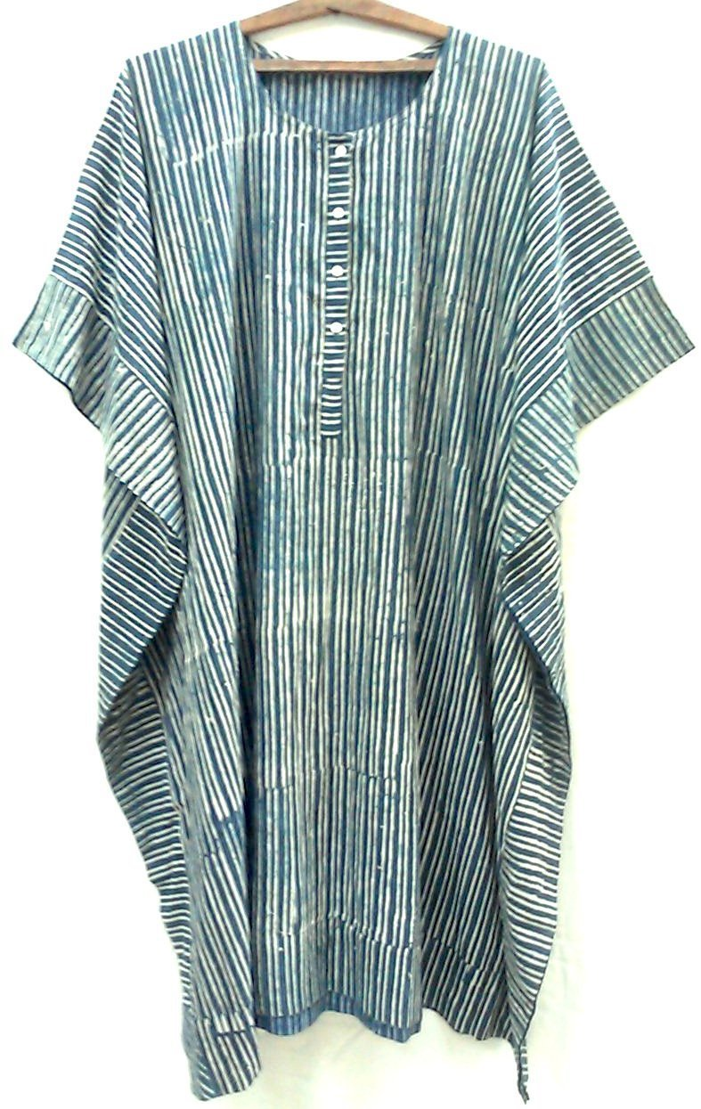 605692fdb85d Amazon.com: Dark Organic Indigo Green Stripe Anokhi Hand block print Long  Indian cotton Tunic Kaftan One Size: Handmade