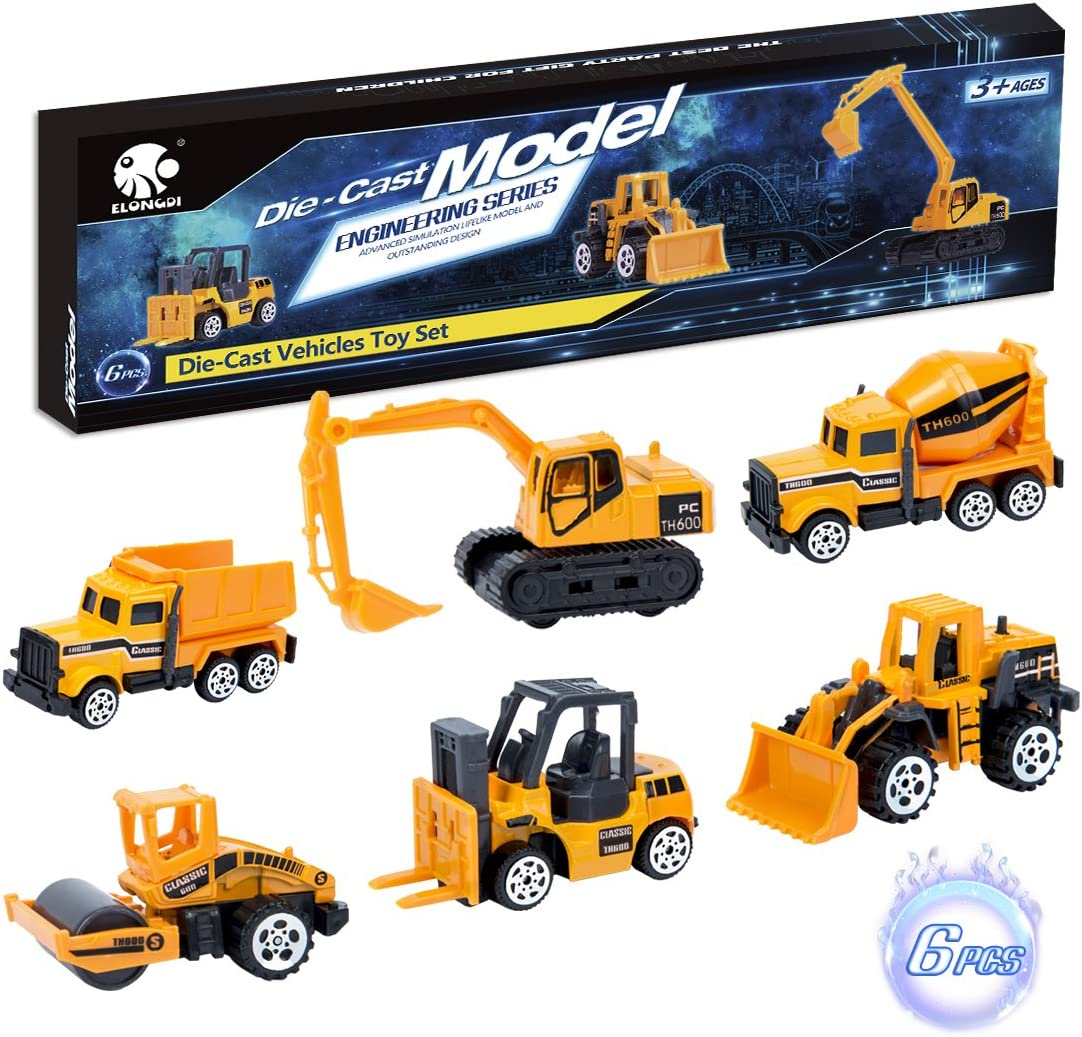 Elongdi Die-Cast Construction Toys Set, Excavator Toy Vehicles, Dump Truck Forklift Road Roller Wheel Loader Backhoe Excavator Cement Mixer, Cars Toys for 2 3 4 5 6 Years Old Kids Boys Girls