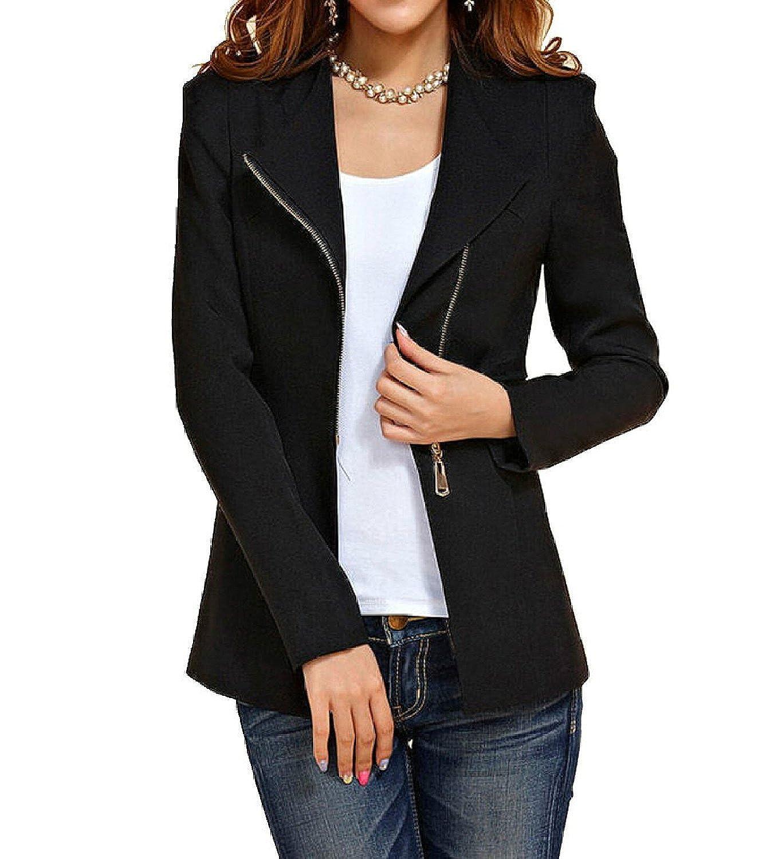 Aro Lora Women s Autumn Oversize Slim Fit Bodycon Zipper Suit Coat Jacket  Blazer Outwear at Amazon Women s Clothing store  939ab93b49