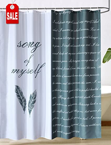 CHAYOTE HOME Fabric Shower Curtain White Black Waterproof Mold And Mildew Resistant Machine Washable