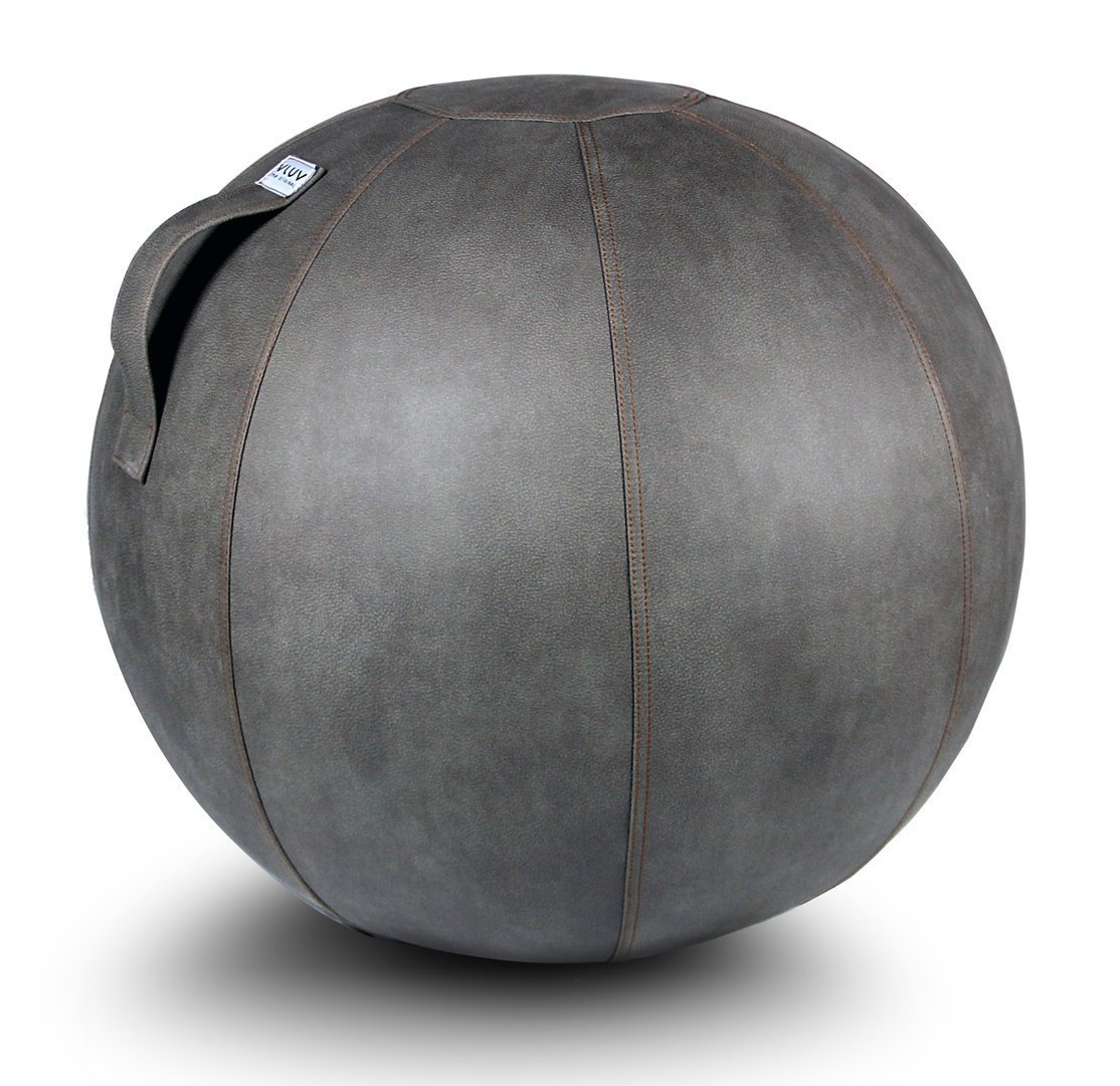 VLUV VEEL 25.6'' Premium Quality Self-Standing Sitting Ball with Handle - Home or Office Chair and Exercise Ball for Yoga, Back Stretching, and More - Made in Europe - Mud Colored Stability Ball