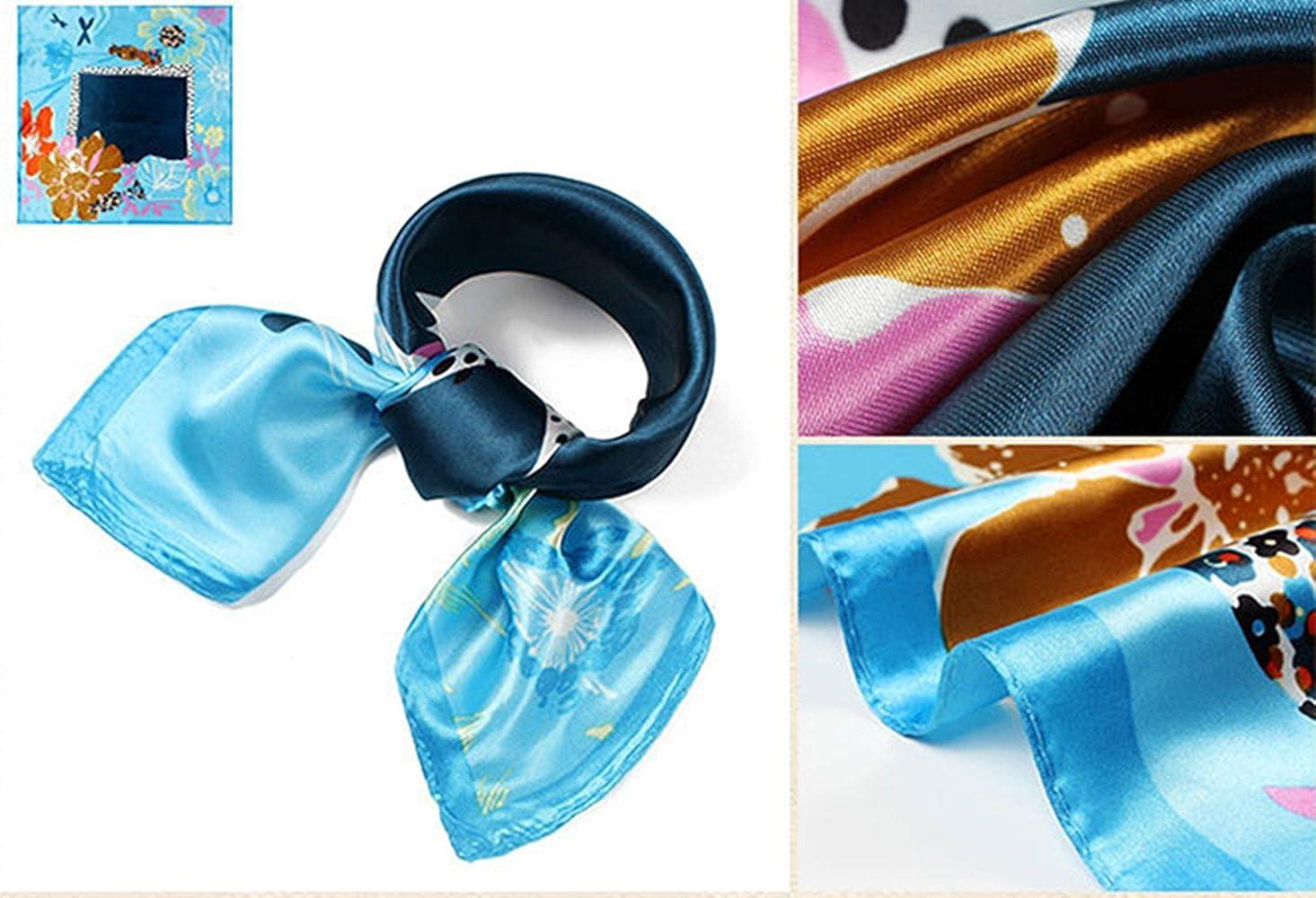 QBSM Womens 23.6 inch Satin Silk Feeling Formal Square Neck Scarf Head Hair Wraps