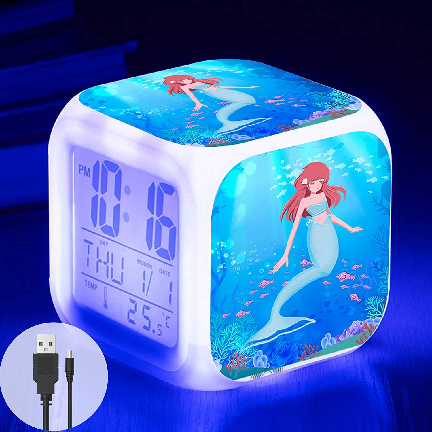 Mermaid Alarm Clock for Girls, Kids Digital Alarm Clock with 7 Color LED Light and USB Cable, Wake Up Clock with Mermaid Girl Bedroom Decor for Christmas, School Begins and Birthday Gifts (Blue)