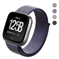 PUGO TOP, smart watch Fitbit Versa, sportivo, con cinturino a fascia di nylon traspirante, con chiusura regolabile, leggero