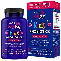 LoveBug Probiotics Kids Probiotic Chewable - 10 Billion CFU & 6 Strains - Immune...