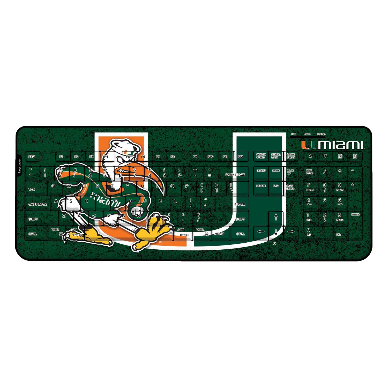 Miami Hurricanes Keyscaper Wired Keyboard Licensed by the NCAA by Keyscaper