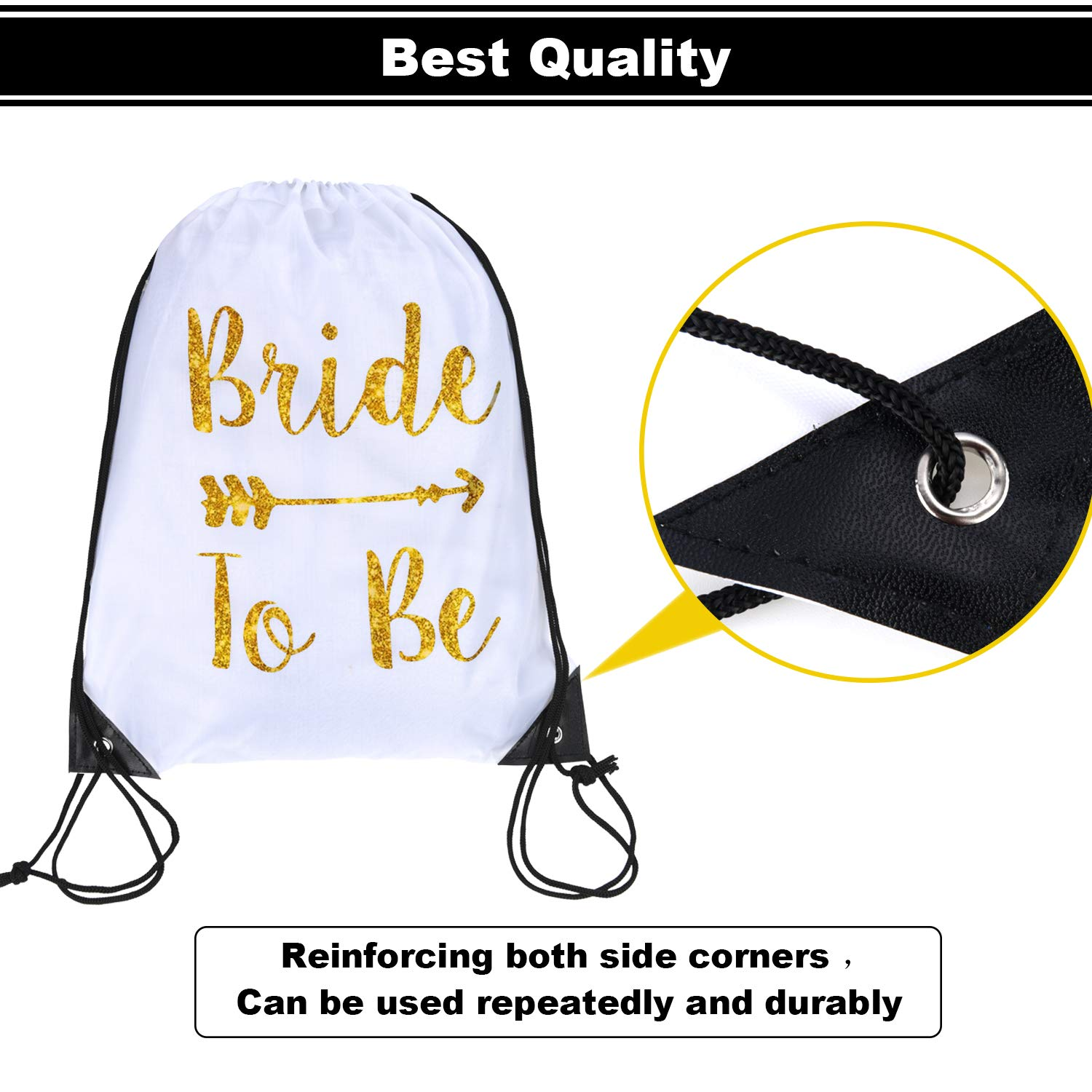 12 Pieces Bride and Bride Tribe Drawstring Bags Wedding Drawstring Gift Bag Bridal Party Favor Bags for Bridesmaids Bridal Party Bridal Shower, 16.5 x 13.4 inch (Black) by Maitys (Image #4)