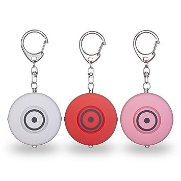 Xerfira Personal alarma, alarma de bolsillo, Llavero con alarma de 130 dB, Autoprotección para mujer y niños, alarma llavero, Set de 3, seguridad para ...
