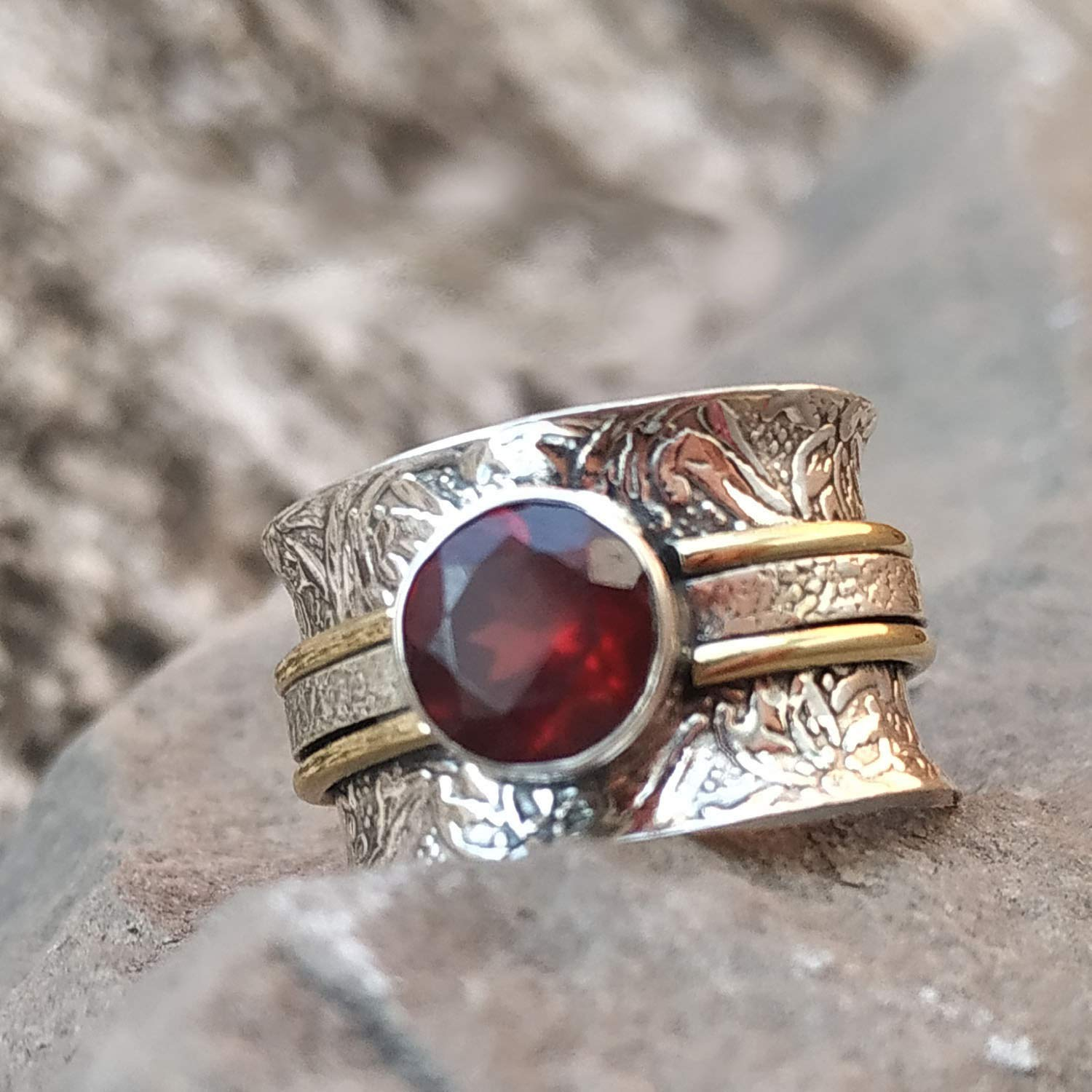 Ruby Birthstone Jewelry Band Ring Meditation Ring Garnet Wider Band Ring 925 Silver Ring Texture Ring,Handmade Ring