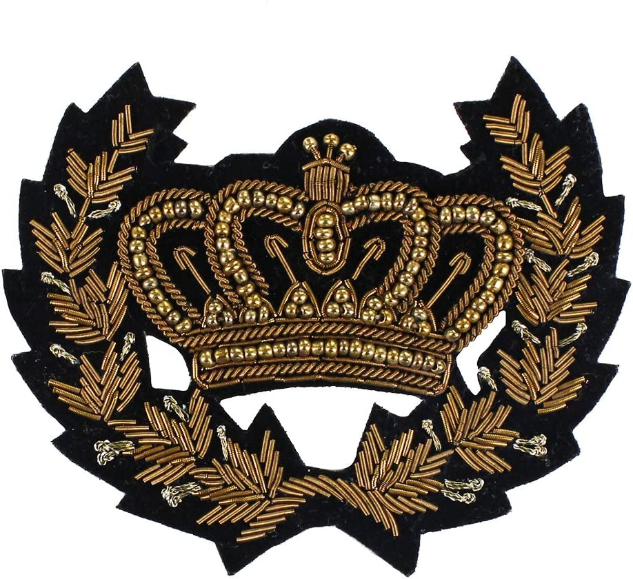 Coq dor/é /épaule Cheval v/êtements d/écor/és EMDOMO Patch brod/é en Soie Indienne avec Couronne dor/ée et Abeille Accessoires de Couture Broderie t-Shirt Chat