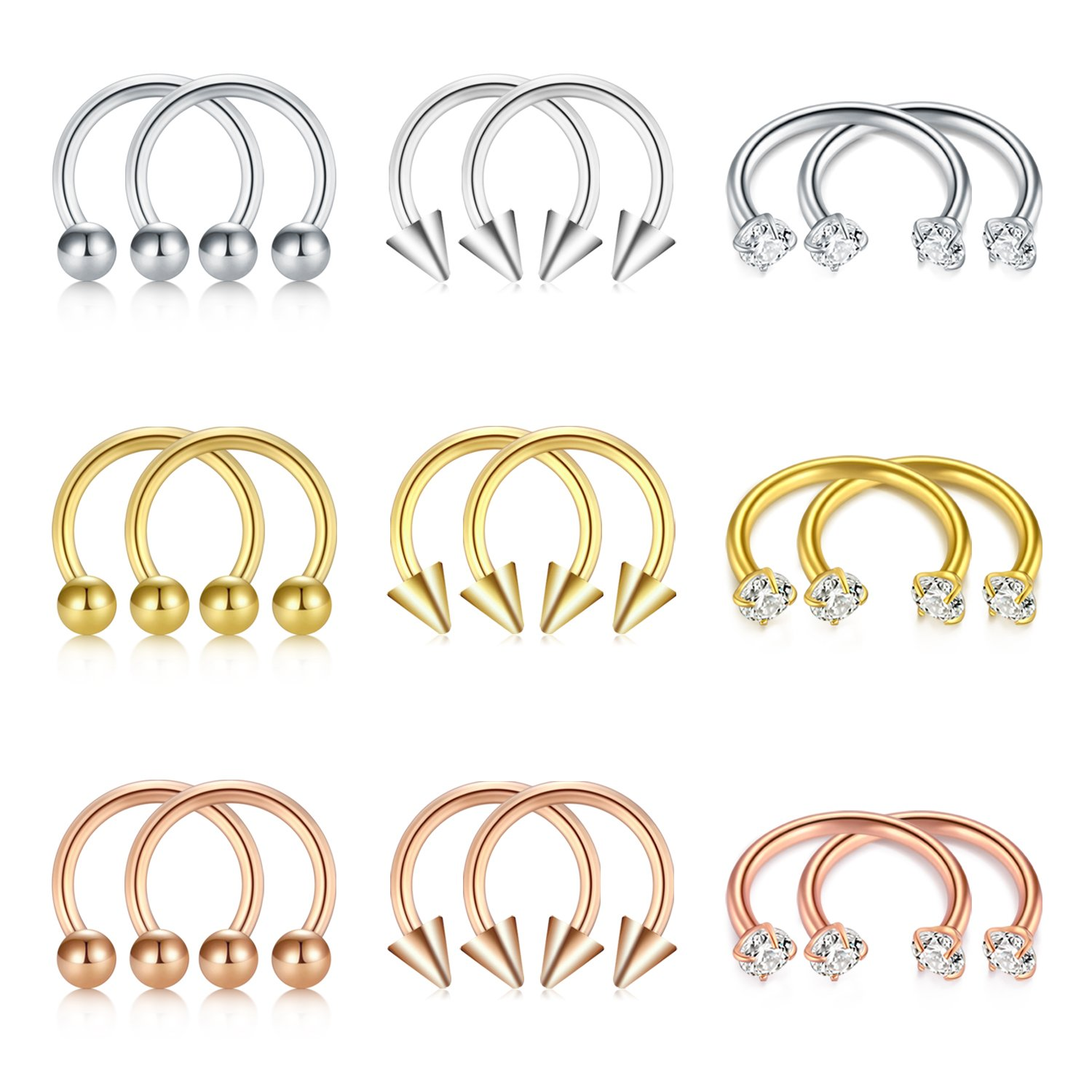 D.Bella Bull Nose Ring, 16G Horseshoe Hoop 8mm Nose Ring Septumring Cartilage Earring Lip Eyebrow Tragus Piercing D.Bella Septum Jewelry DB16-045-1MC
