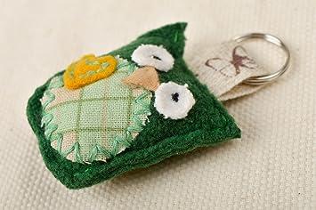 9c73711b7be7 Porte-cle hibou vert Porte-cles fait main en tissus Cadeau original pour  enfant