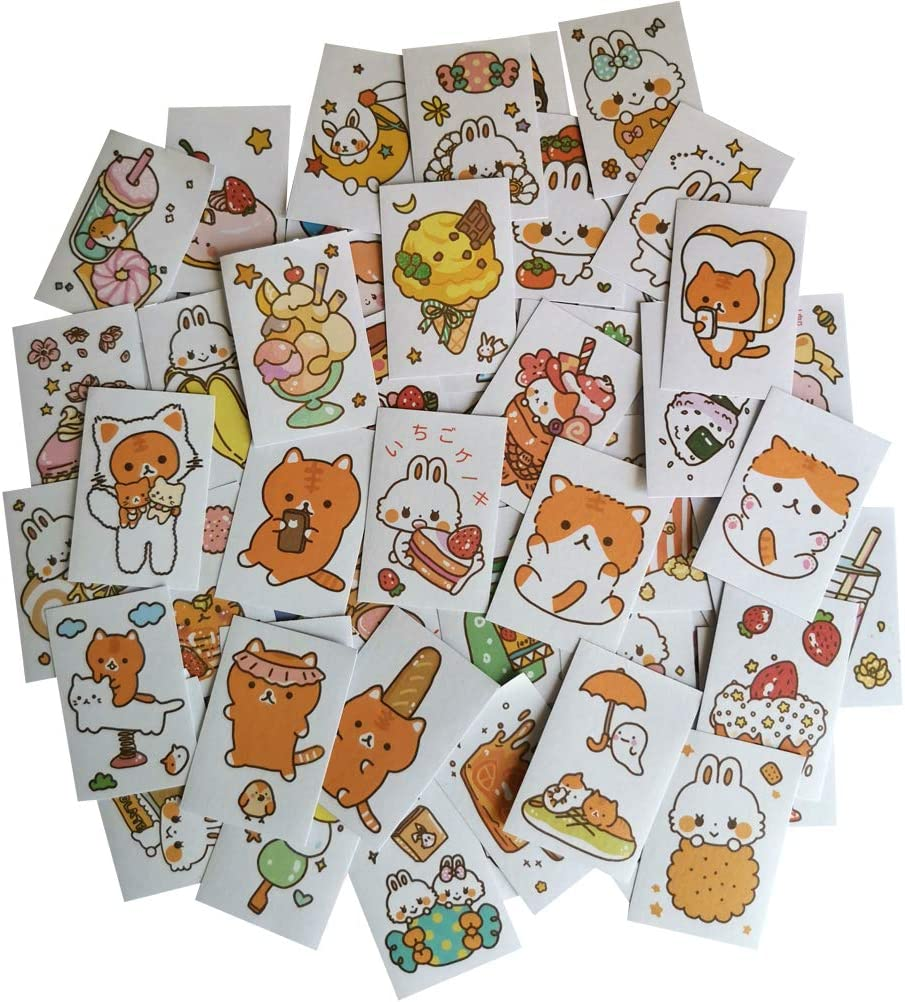 Washi Paper Stickers Set 100 Pieces Kawaii Rabbit Cat Cartoon Animal Sweet Food Adhesive DIY Sticker Craft Label for Art Project Scrapbooking Journal Personal Planner Diary Letter Card (A)