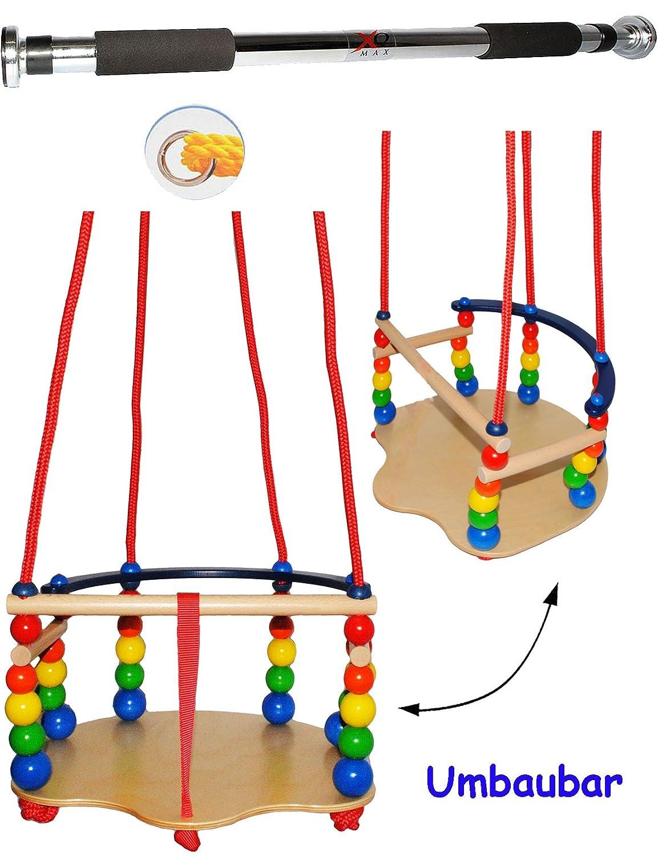 2 tlg. Set _ DELUXE - Schaukel aus Holz + Türreck - Gitterschaukel - mit Gurt / Kinderschaukel - leichter Einstieg ! - mitwachsend & verstellbar - Babyschaukel - verstellbare Kleinkindschaukel - Holzschaukel Baby Kinder - Holzgitterschaukel für Innen und Außen - Indoor Outdoor - mit Sicherheitsstäben / bunte Stäbe - Holzbabyschaukel - Garten oder im Haus - Reck für Türrahmen Befestigung - Stange - Türstange