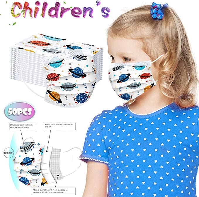 Heetey 50Pcs Disposable Face Bandanas with Elastic Earloop for Kids, 3 Ply Non-Woven Breathable and Anti-Haze Dust (One Size, Color Planet),Heetey,Heetey-01
