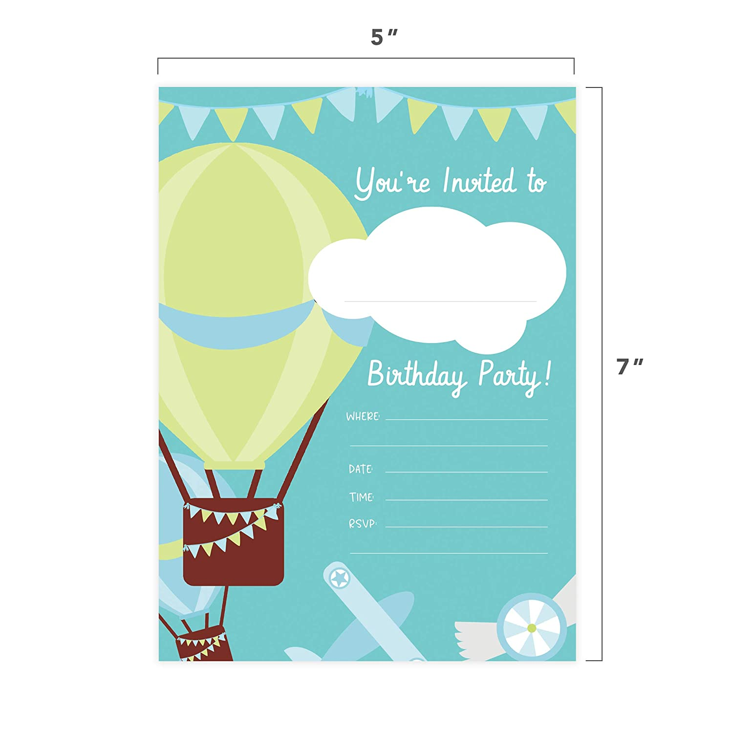 Balloons 25 Invitations /& 25 Thank You Card Combo Pack Happy Birthday Invite Cards With Envelopes /& Seal Stickers Boys Girls Kids Party Desert Cactus