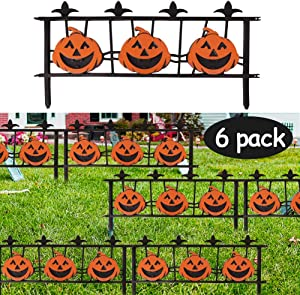 Triumpeek Autumn Outdoor Decoration, 24 X 11 Inch 6 Packs Halloween Pumpkin Yard Stake Signs, Fall Harvest Pumpkin Fence Lawn Sign Outdoor Decor, Kid Friendly Halloween Decorations