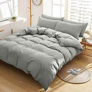 BOBforyou 3 Pieces Duvet Cover King,Stone Washed Yarn Dyed Microfiber Duvet Cover Set,Ultra Soft and Easy Care,Simple Style Bedding Set (Gray, King)