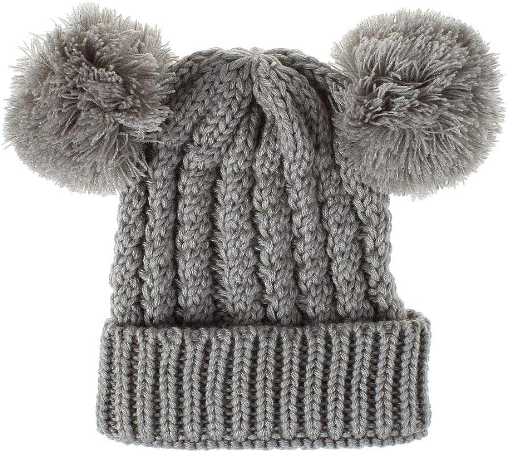 Yateen Kids Girls Boys Pom Pom Ears Chunky Thick Stretchy Knit Soft Beanie Hat 1-8 Years Old