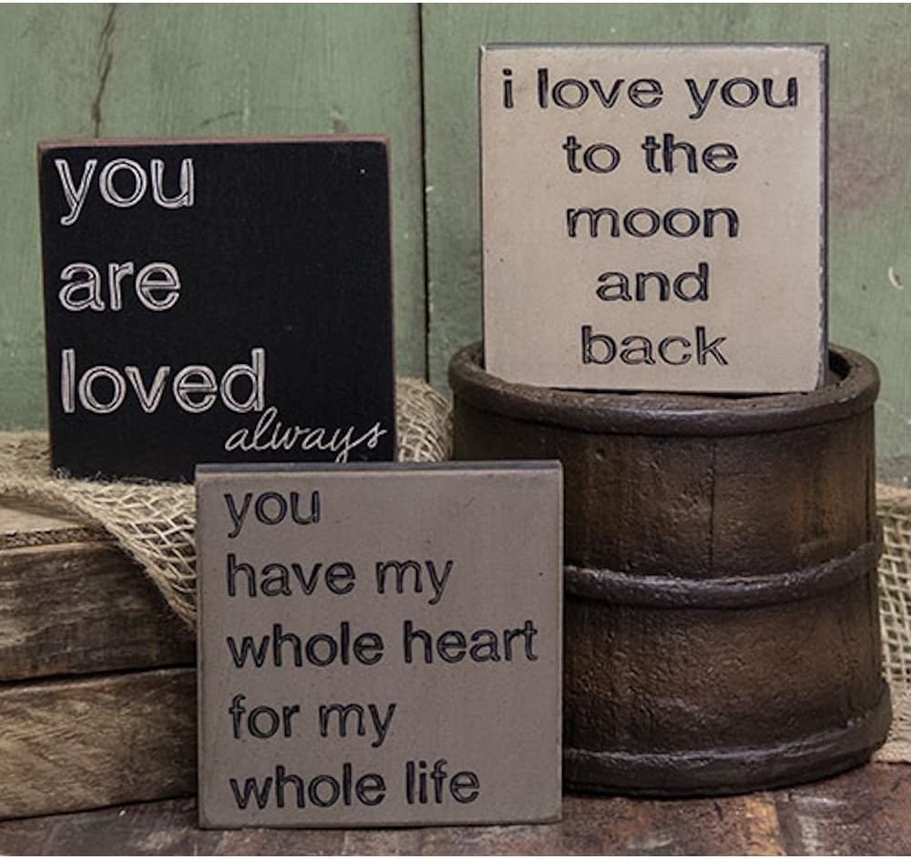 Love You To The Moon Trio - Square Desk Sign Set of 3 (I Love You To The Moon and Back, You Have My Whole Heart For My Whole Life, You Are Loved Always)