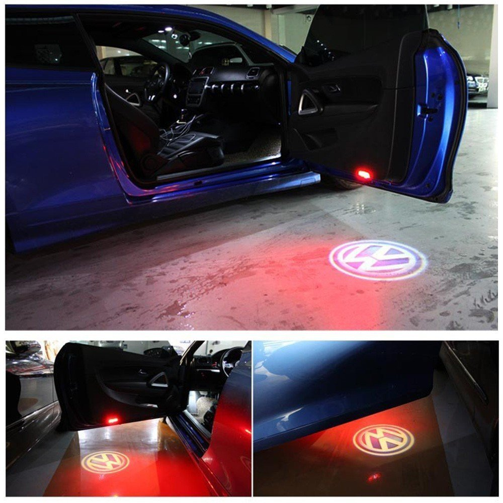Klinee 2 Piece Car Led Door Logo Light Welcome Volkswagen Touran Exterior Control Wiring System Projector For Vw Golf 4 Automotive