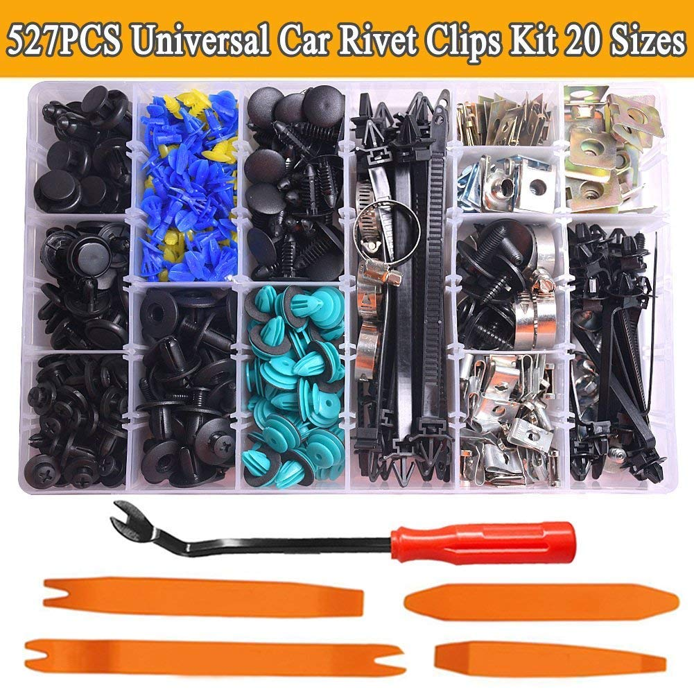 CNIKESIN 527Pcs Car Retainer Clips Door Trim Panel Clips Bumper Clips Plastic Rivets Fasteners Kit Auto Push Pin Rivets Set for GM Ford Toyota Honda Chrysler
