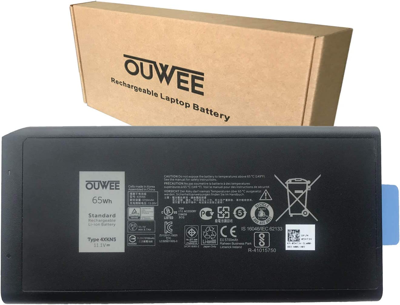OUWEE 4XKN5 Laptop Battery Compatible with Dell Latitude 5404 7404 5414 7414 Rugged Extreme Series DKNKD X8VWF CJ2K1 05XT3V 0VCHGN 09FN4 XN4KN XRJDF YGV51 453-BBBE 0W11Y7 0909H5 11.1V 65Wh 5700mAh