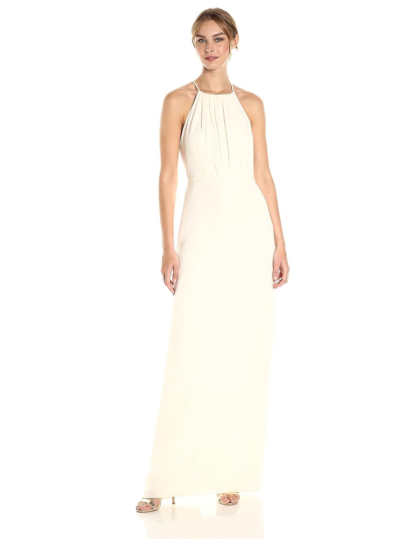 Cream Halston Heritage Womens Sleeveless Round Neck Gown with Flounce Cirss Cross Back Dress