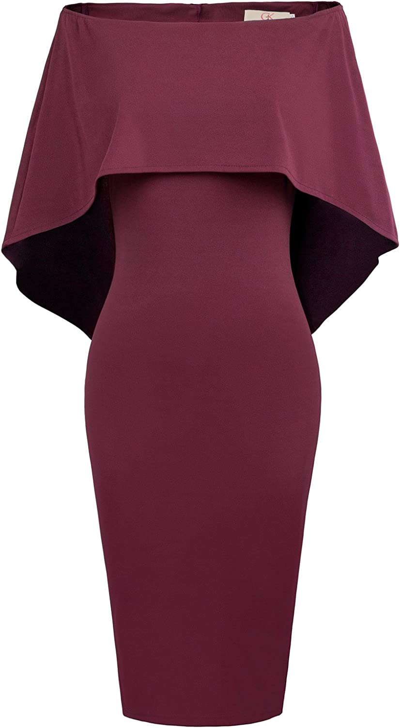 GRACE KARIN Women Off Shoulder Batwing Cape Midi Dress