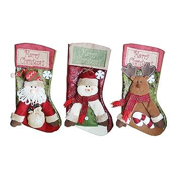 3PCS Calcetines de Navidad, Moon mood® No Tejida Papá Noel Medias de Navidad Santa