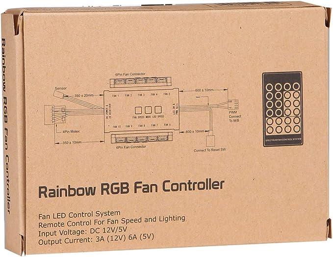 JUSTOP 10/Ports RGB contr/ôleur de Ventilateur de Refroidissement du bo/îtier pour PC avec t/él/écommande contr/ôle jusqu/à 10/6-pin Ventilateurs /à LED Couleurs RVB