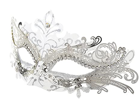 Coxeer Masquerade Mask Laser Cut Metal Masks Mardi Gras Halloween Masks For Women Ball Party (White/... by Coxeer