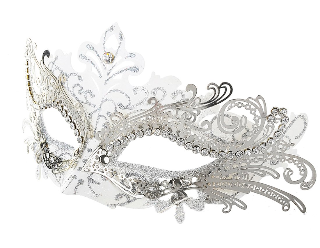 Coxeer Masquerade Mask Laser Cut Metal Masks Mardi Gras Halloween Masks For Women Ball Party White Silver